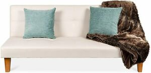 Lounge Futon Sofa Bed w/Adjustable Back, Sturdy Wood Frame, Faux Leather, Tufted