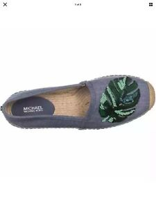 Michael Kors Women's PALM Beaded Espadrille Flats Shoes Hemp BeigeSz 8.5 NIB