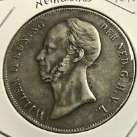 1848  NETHERLANDS  SILVER 2 1/2 GULDEN HIGH GRADE CROWN COIN