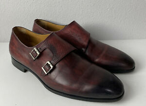 men's magnanni Double monk strap shoes size 11.5 W made in spain Burgundy