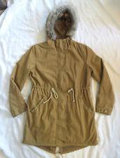 Old Navy Drawstring FAUX FUR Jacket Cinch Waist CANVAS PARKA COAT XS EUC