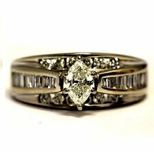 14k white gold .81ct Si1 I marquise diamond engagement ring 6.2g estate vintage