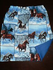 Handmade kids library bags first name  embroidered free Horse Print Blue Colour