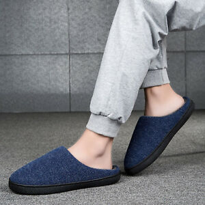 Mens Shoes Slippers Winter Indoor Outdoor Comfort Fuzzy Plush Lining House
