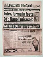 GAZZETTA DELLO SPORT 15-1-1990 INTER MATTHAUS NAPOLI MARADONA SAMPDORIA MILAN