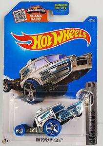 Hot Wheels 2016 Blue Poppa Wheelie Super Chromes 8/10 DHP71