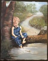 Vintage Painting Oil on Canvas~DOROTHY UMPHREY~Gone Fishing~Boy~Child~Nature