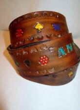 """Nos Vintage Tooled Leather Belt Hand Painted """"Ann"""" Name 36 Never Worn Womens"""