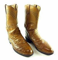 """Authentic Brown Justin """" FULL OSTRICH QUILL """" Kids Mens 6 B Western Cowboy Boot"""
