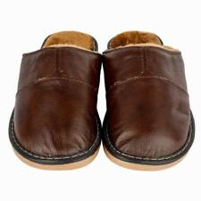 Winter Home Slippers Men Cow Leather Close Toe Lining Fur Slip On Flats SIZE 10