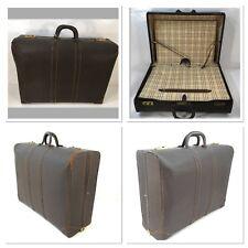 Vintage Leather Suitcase 24 x 18 x 9 With Plaid interior. Soft Case -- Rare.