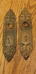 TWO Vintage Door Backplates Brass Bronze Art Deco Hardware Plates