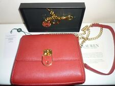 Ralph Lauren Evening Shoulder Bag Red Leather with Gold Chain Strap & Keyring
