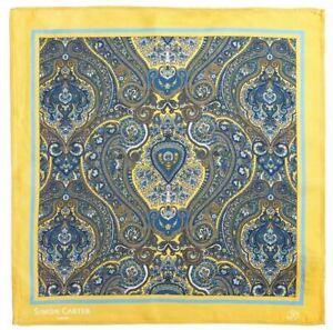 Simon Carter Mens Paisley Pocket Square - Yellow/Blue