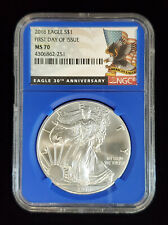 2016 American Silver Eagle NGC MS70 First Day of Issue Eagle Label Blue Core