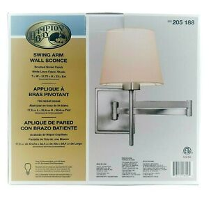 Hampton Bay Swing Arm Wall Sconce in Brushed Nickel Finish White Linen Shade