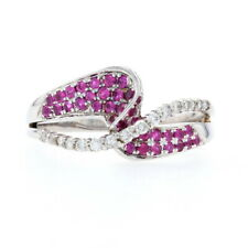 White Gold Synthetic Ruby & Diamond Bypass Ring - 10k Round Brilliant Cut .31ctw