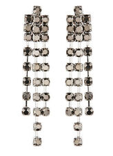 CLIP ON EARRINGS - silver drop earring with grey crystals - Dame