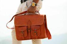 Men's Real Italian Leather Vintage Brown Messenger Shoulder Laptop Bag Briefcase