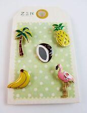 Tropical Enamel Pins Set Of 5 Coconut Palm Tree Flamingo Pineapple Bananas Zen