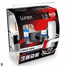 Lunex H3 Halogen Night Vision +100%25 more light Headlight Car Bulbs 3600K Twin