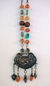 Antique Chinese Silver Necklace. Repousse Locket Turquoise Precious Stones RARE