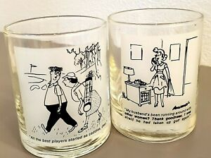 Golf Drinking Glasses Funny Cartoon Golf Digest Comic Vintage Set of 2