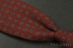 "ISAIA Red Geometric FLORETTE 100% Wool 7 FOLD Mens Luxury Tie - 3.25"""