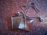 Antique Silver Square Picture Locket/Pendant with Cabochon