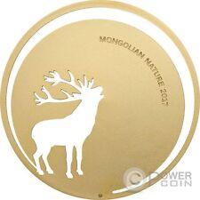 ROARING DEER Mongolian Nature Silver Coin 500 Togrog Mongolia 2017