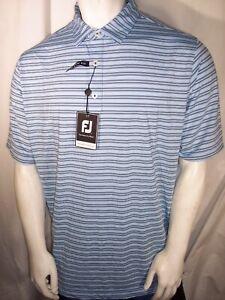 NEW Footjoy XL Sky/Navy/White Striped Poly/Spandex Polo/Golf Shirt