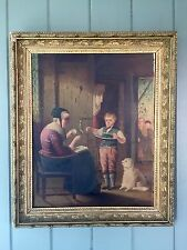 Unusual Antique Folk Art Oil Painting Boy Taunted By Friends For Helping Grandma