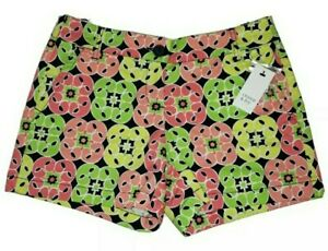 Womens Crown & Ivy Shorts Size 2P Pink Green Printed Strecth Pockets NWT