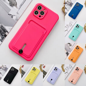 For iPhone 11 12 Pro Max XS XR 8+ 7 Silicone Wallet Card Holder Slim Case Cover