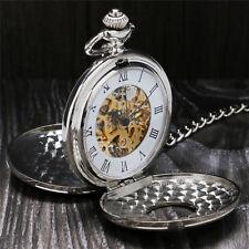 Silver Skeleton Double Open Pocket Watch Handwinding Mechanical Roman Numbers