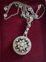 Judith Ripka 925 Sterling Silver Diamonique Enhancer Pendant W/ Station Necklace