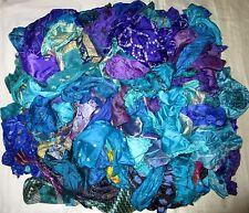 LOT PURE SILK Antique Vintage Sari Fabrics REMNANT 100 GRAMS SIZES BLUE VIOLET