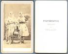 Collin, France, Deux pêcheuses avec leur filets et leurs bourriches  CDV vintage