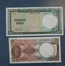 New listing 2- Viet Nam 1 & 20 Dong Banknotes Unc.