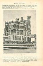 Maison Immeuble de Palmer Potter à Chicago USA GRAVURE ANTIQUE OLD PRINT 1892