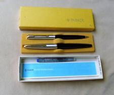 NOS Vintage Parker 45 Fountain Pen & Pencil Set black / silver w/ gold accent