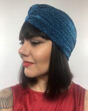 Bonnet turban stretch bleu à paillettes pinup burlesque rétro sexy original