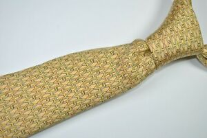 HERMES PARIS 7958 EA Tie MADE IN FRANCE 100% Silk Yellow Color L63 W3.3