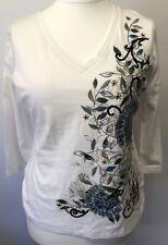 NEXT Woman's Ladies White Floral Sequin Design 3/4 Sleeve Top Size UK 16