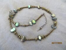 Silpada Sterling Silver Mother of Pearl /Bronze Seed Beads Brass Necklace N1729