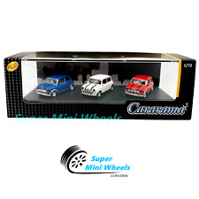 Cararama 1:72 Mini Cooper (Blue, White, Red) in Plastic Case - 3-Car Set
