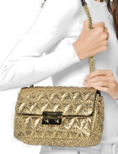 NEW Michael Kors Sloan Large Chain Shoulder Bag Gold Quilted Lavish Bag