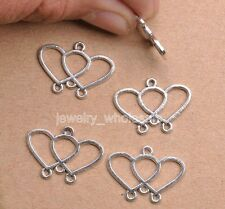 10pcs Tibetan Silver Charm Double Heart Earring Connectors 21x15mm Jewelry
