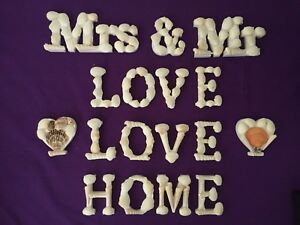 Wooden Shell Words - Wedding Decorations - Love - Hearts - Home