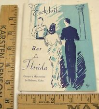 VINTAGE 1950'S COCKTAIL RECIPE BOOKLET LA FLORIDA FLORIDITA BAR HAVANA CUBA